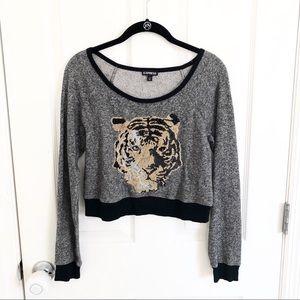 Express beaded tiger cropped sweatshirt